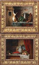 Christian Strobel (Austrian, 1855-1899) Two Still Life Scenes with Hare and Lobster, Oil on board,