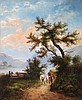 A. August (19th Century) River Landscape with Figures and Horses, Oil on canvas,