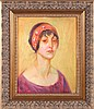 Abel George Warshawsky (1883-1962) Portrait of the Artist's Wife, Oil on panel,, Abel George Warshawsky, $400