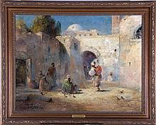 Douglas Arthur Teed (1864-1929) In an Arabian Courtyard, Oil on canvas,