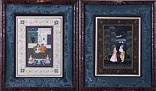 Two Mughal School Paintings on Cotton, Gouache and Ink, 20th Century.