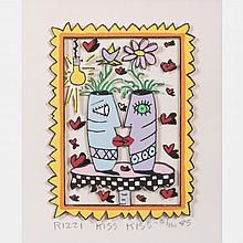 James Rizzi (1950-2011) Kiss Kiss, Hand-cut silkscreen with 3D construction,