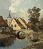Artist Unknown (20th Century) Canal Scene, Oil on canvas,