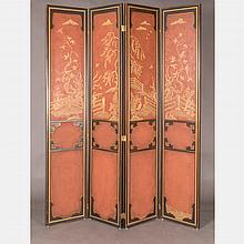 A Chinese Style Painted Lava Walnut Four Panel Floor Screen, ca. 1970s,