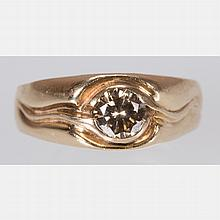 A 14kt. Yellow Gold and Brown Diamond Ring,