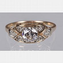 A 14kt. Yellow and White Gold Diamond Ring,