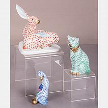 A Group of Herend Porcelain Animal Figures, 20th Century.