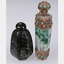 A Malachite, Coral and Turquoise Snuff Bottle,