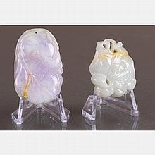 Two Chinese Carved Jade Pendants.
