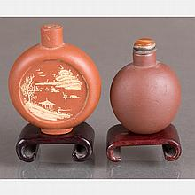 Two Yixing Stoneware Snuff Bottles on Carved Hardwood Stand,