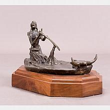 After Charles Marion Russell (1864-1926) Preserving the Spirits of the Past, Bronze,