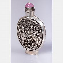 A Chinese Silver Snuff Bottle, 20th Century.