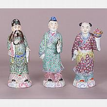 A Group of Three Chinese Porcelain Figures of Dignitaries, 20th Century.
