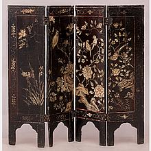 A Diminutive Chinese Carved and Lacquered Four Panel Floor Screen, 20th Century.