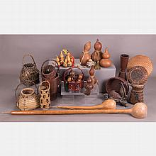A Collection of Japanese Ikebana Wicker Baskets and Gourds, Meiji and Showa Periods.