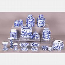 A Miscellaneous Collection of Chinese Blue and White Porcelain Serving and Decorative Items, 20th Century.