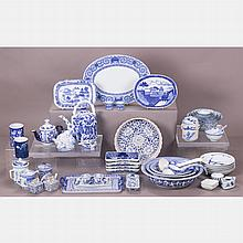 A Miscellaneous Collection of Chinese Blue and White Porcelain Decorative and Serving Items, 20th Century