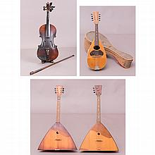 A Collection of Four Vintage Wooden Musical Instruments, 20th Century,