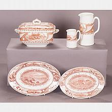 A Partial Set of Staffordshire Brown Transferware Serving Items, 20th Century.