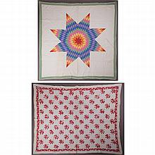 Two American Appliqué Quilts, 20th Century,