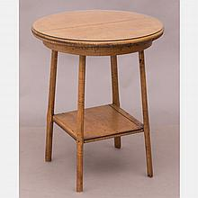 An American Rustic Tiger Maple Circular Two Tier Table, 19th Century.