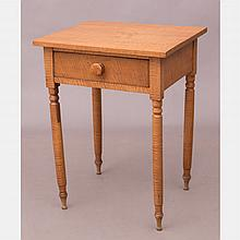 An American Tiger Maple Single Drawer Table, 19th Century.