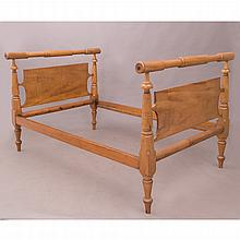 An American Tiger Maple Bed, 19th/20th Century,