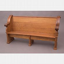 A Gothic Style Carved Hardwood Pew, Late 19th Century,