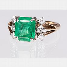 A 14kt. Yellow Gold, Emerald and Diamond Ring,