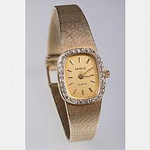 A Geneve 14kt. Yellow Gold and Diamond Melee Watch,