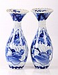 A Pair of Japanese Blue and White Porcelain Vases, c. 1830,