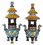 A Pair of Chinese Palace Size Cloisonné Pagoda Form Tripod Censers, 20th Century.