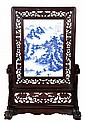 A Chinese Porcelain and Carved Rosewood Table Screen, 20th Century.