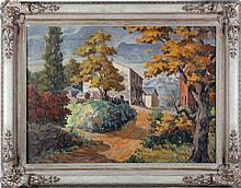 Gerhardt (20th Century) Hillside Village, Oil on canvas,