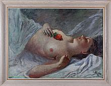Vilém Wünsche (1900-1984) Reclining Nude, Oil on canvas,