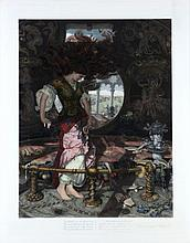 William Holman Hunt (English, 1827-1910) The Lady of Shalott, Hand-colored engraving,