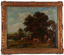 After Francesco Zuccarelli (1702-1788) Landscape, Oil on canvas, relined,