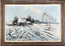 Pierre Jacobs (20th Century) Winter Scene, Oil on canvas,