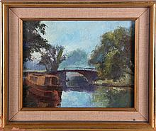 Artist Unknown (20th Century) River Wey, Oil on board,