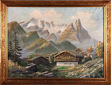 Artist Unknown (20th Century) Alpine Scene, Oil on canvas,