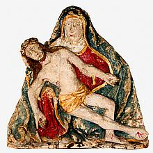 A Carved Hardwood Santos Figure Depicting the Pieta with Polychrome Decoration, 20th Century.