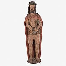 A Carved Hardwood Santos Figure Depicting Christ with Polychrome Decoration, 20th Century.