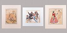 A Group of Three English Watercolor Illustrations by Various Artists, 19th/20th Century,