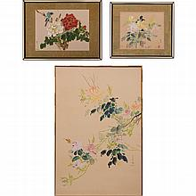 David Lee (b. 1944) Three Works, Oil on silk,