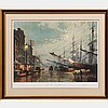 John Stobart (b. 1929) South Street, New York in 1880 Lithograph