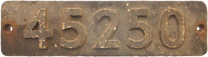 Railwayana: A smokebox numberplate, 45250, from an