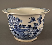 Blue and White Chinese Antique Planter size: 7