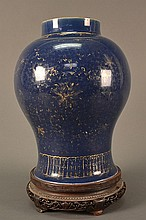 Kangxi Blue Vase and Stand size: 13.5