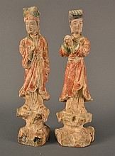 A Pair of  Chinese Wood Carvings size: 12