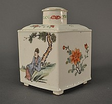 Famille Rose Tea Caddy size: 6